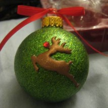 Glitter Reindeer Ball Ornament