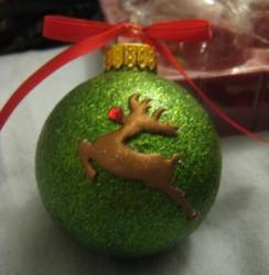 Glitter Reindeer Ball Ornament