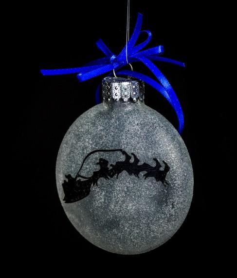 Santa Across the Moon Ornament